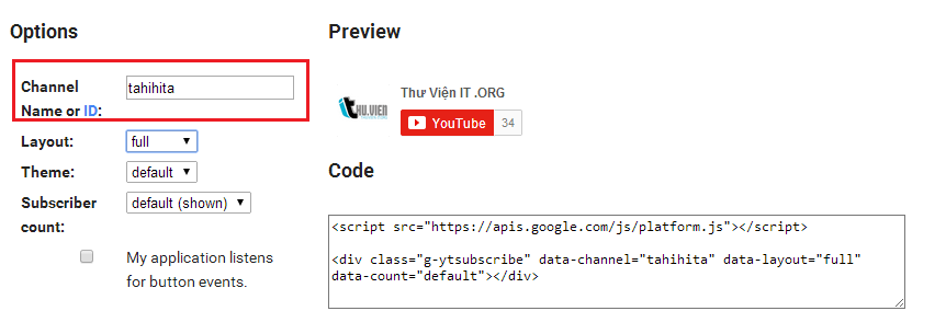 Hướng dẫn chèn nút subscribe youtube vào website