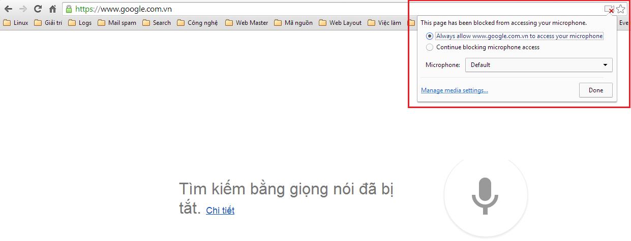Tìm kiếm bằng giọng nói trên Google Chrome