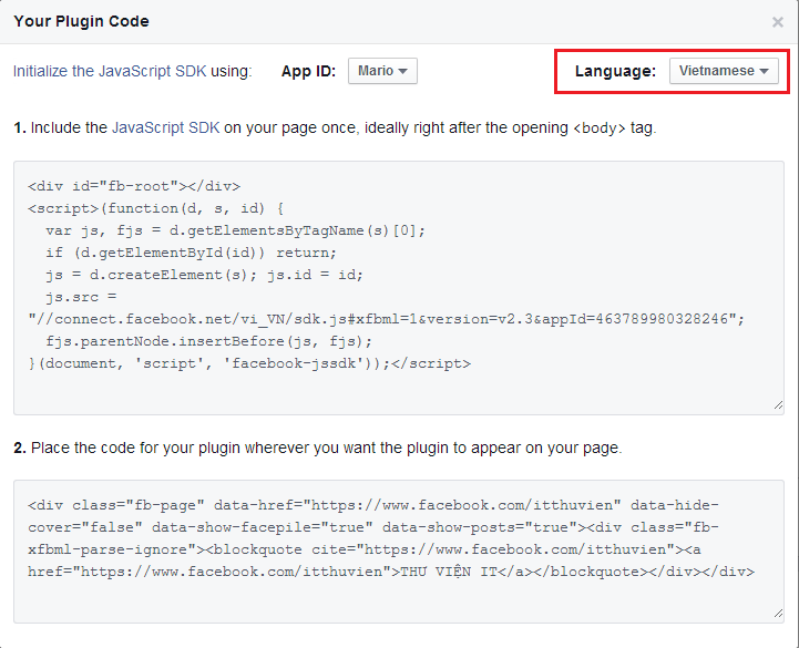 Lấy code facebook like box