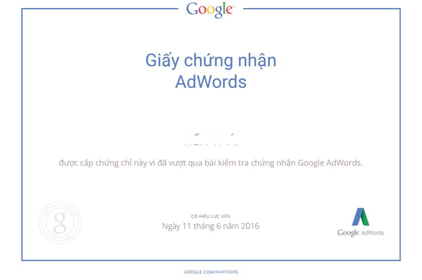 Chứng chỉ Google Adwords