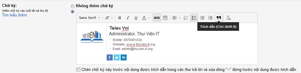 Dán mẫu chữ ký email vào gmail