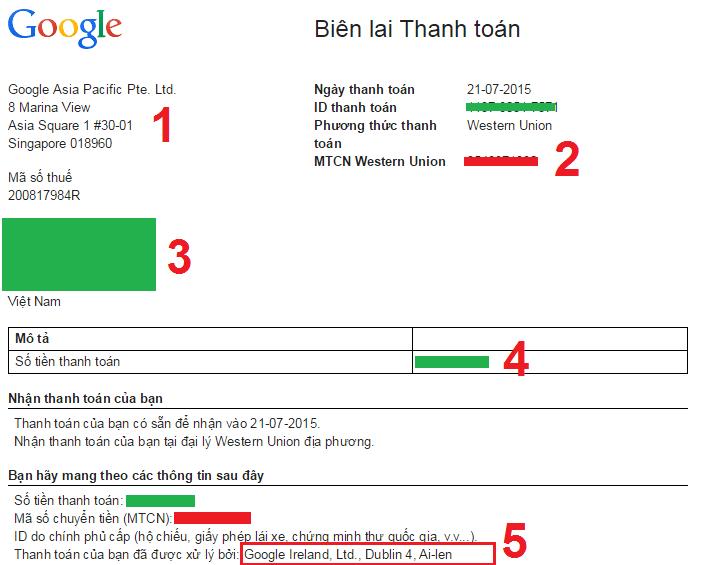 Biên lai thanh toán Google Adsense