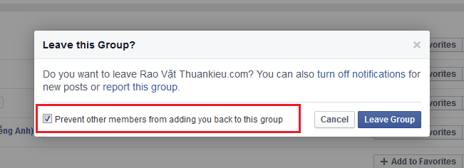 Chặn thêm lại vào group facebook