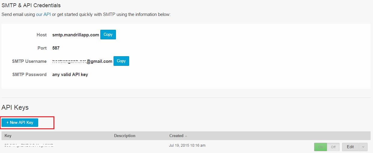 Thông tin SMTP Server của Mandrill