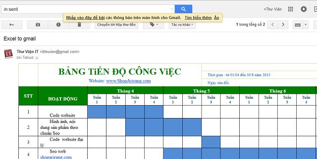Thủ thuật copy 1 bảng biểu excel vào Gmail